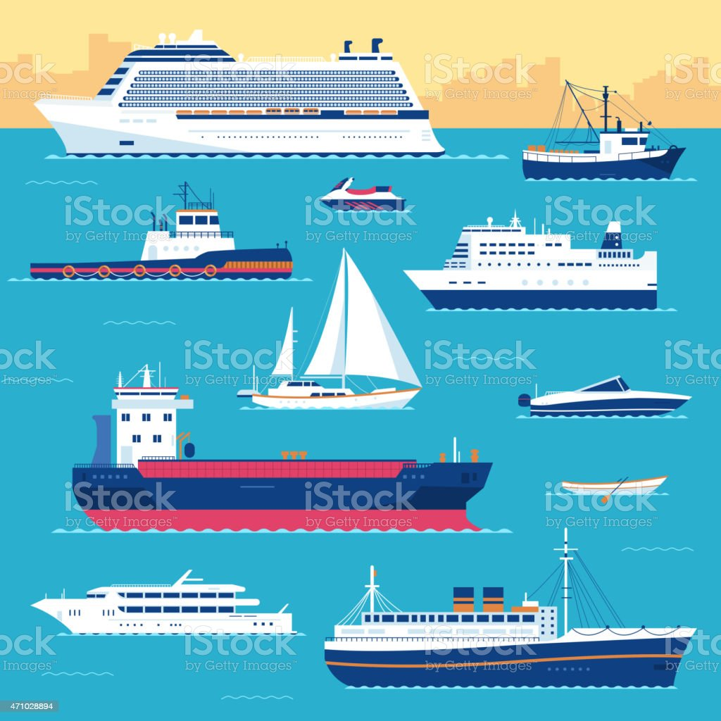 Collection of nautical vessels in blue, white and orange vector art illustration