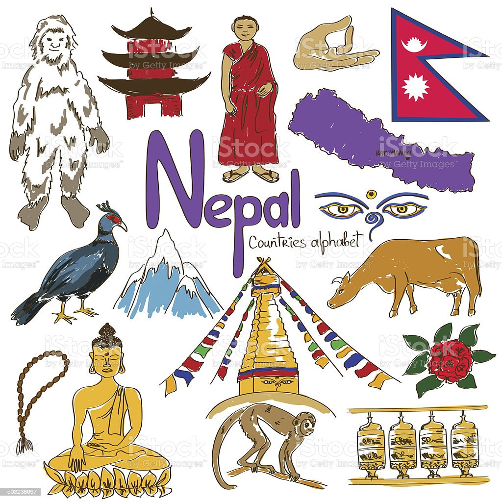 Collection of Nepal icons vector art illustration