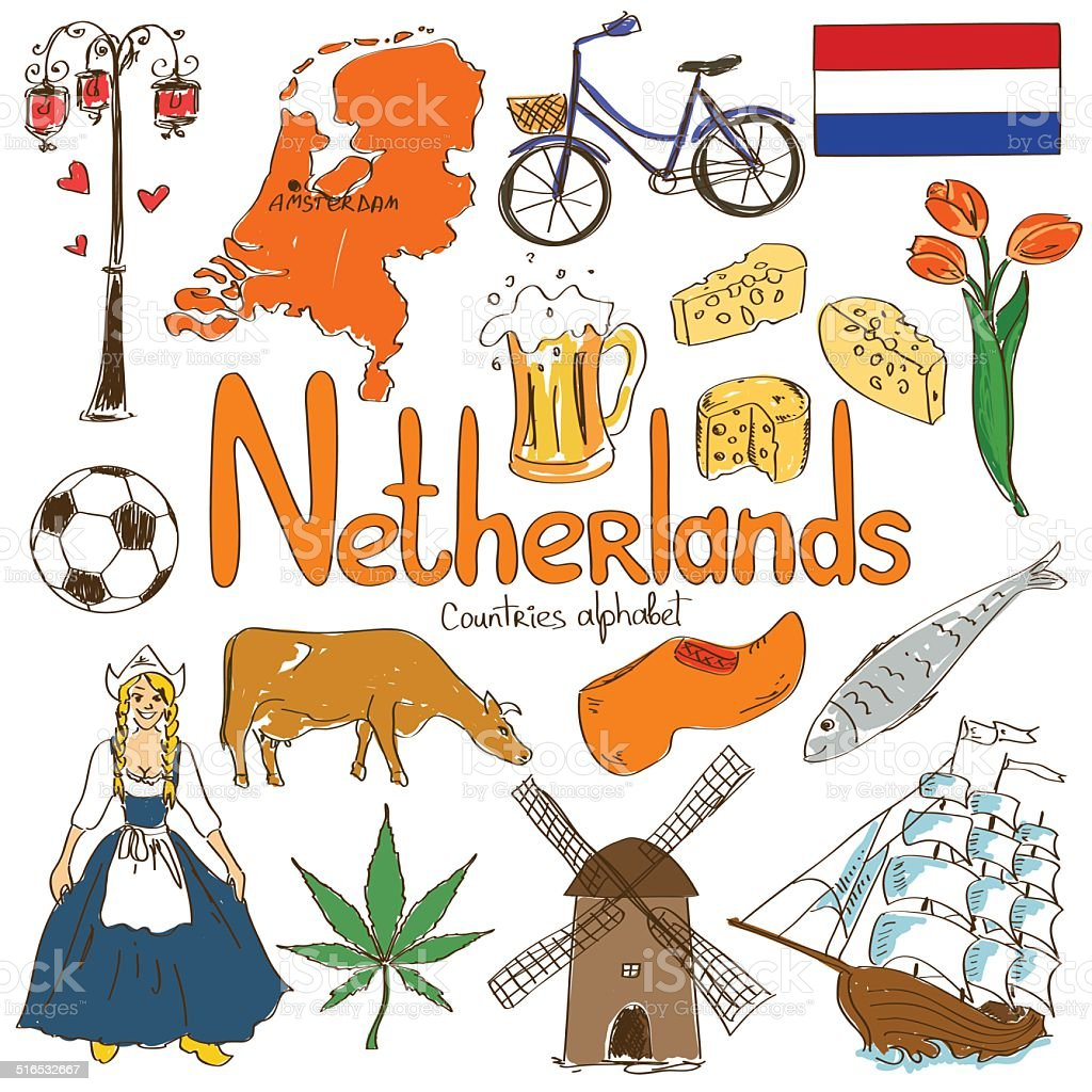 Collection of Netherlands icons vector art illustration