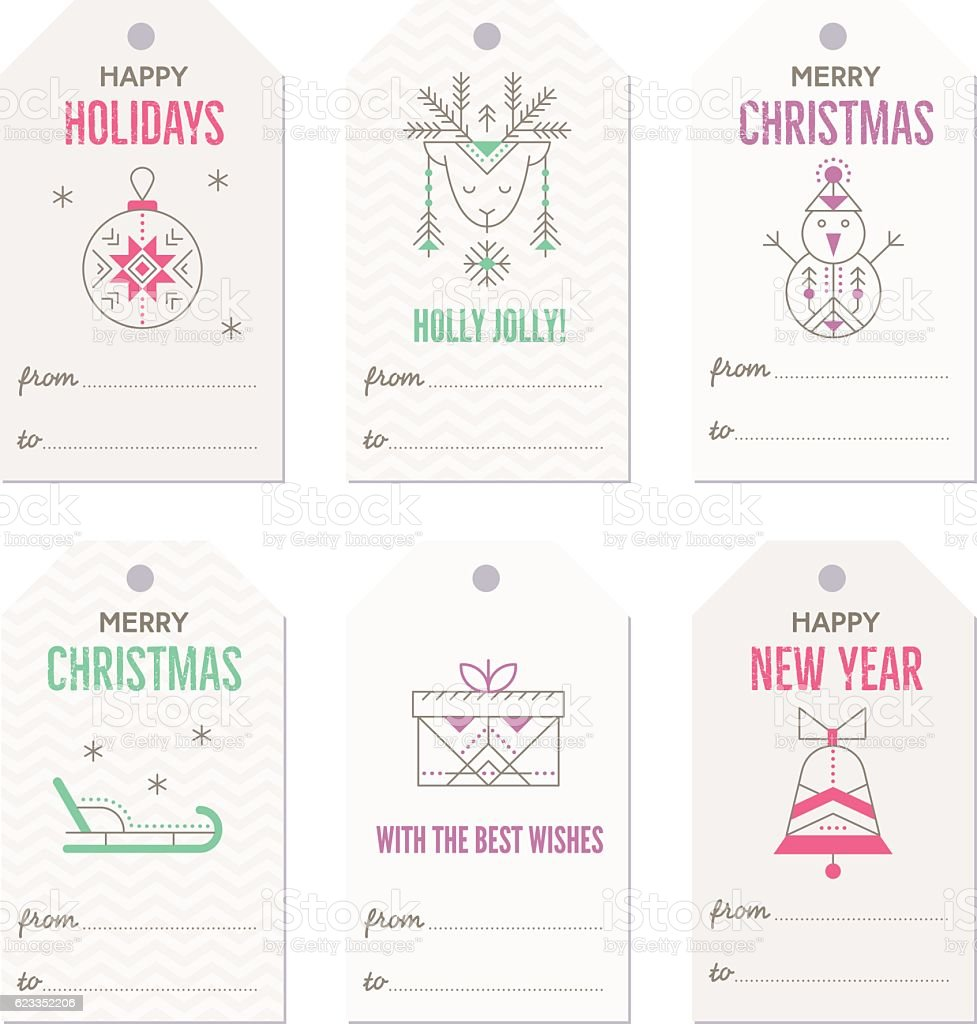 Collection of New Year and Christmas gift tags. vector art illustration