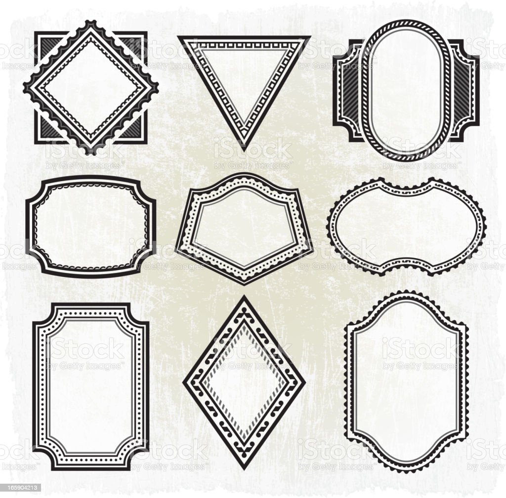 Collection of nine different  black and white grunge frames vector art illustration