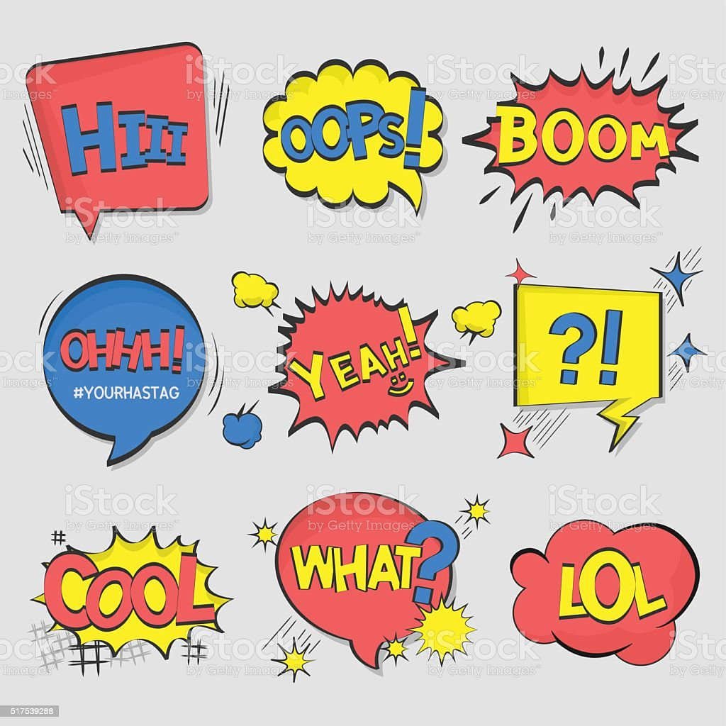 Collection of nine multicolored comic sound Effects vector art illustration