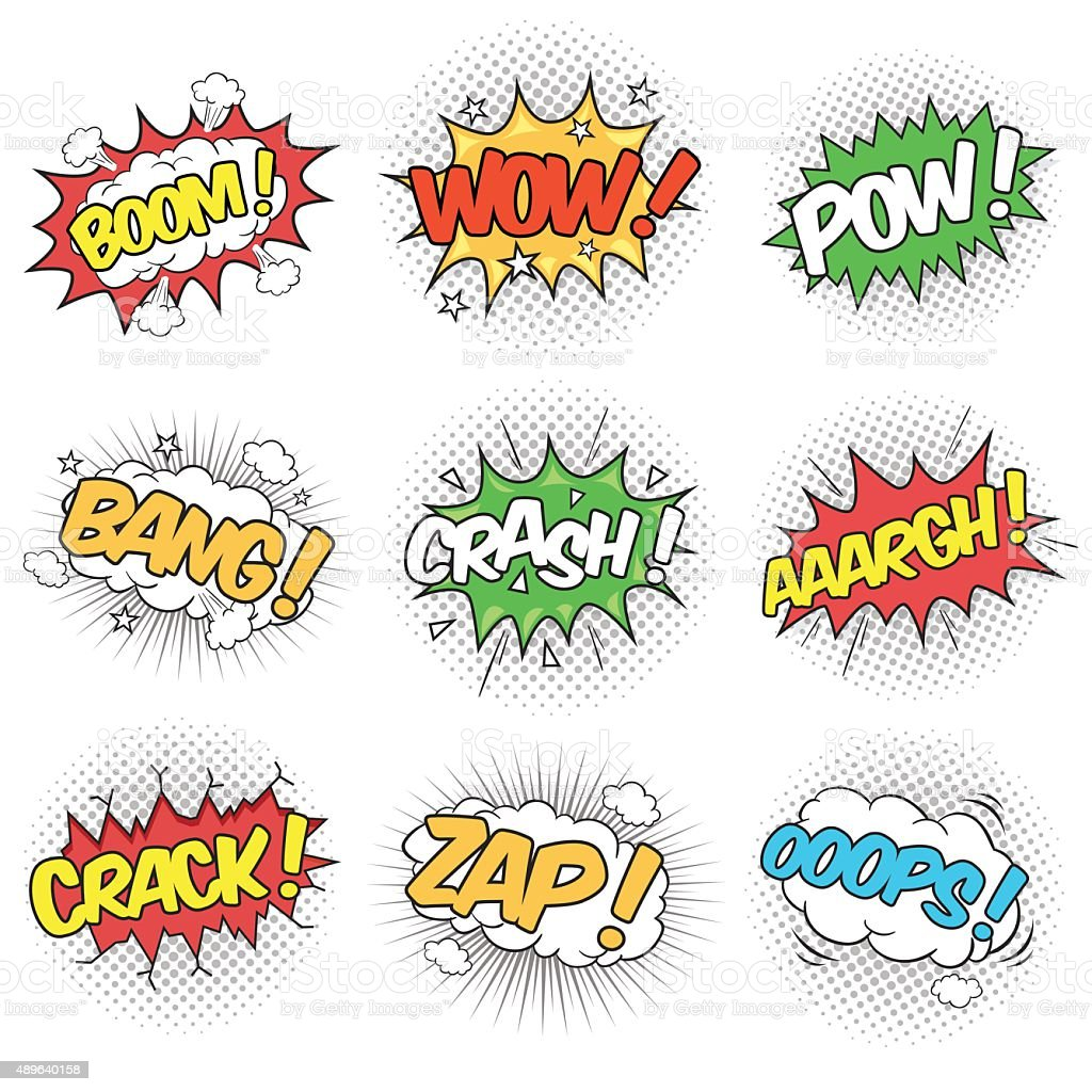 Collection of Nine Wording Sound Effects vector art illustration