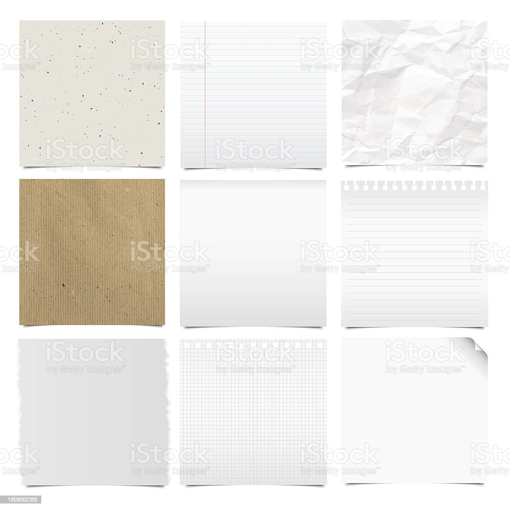 Collection of note papers background vector art illustration