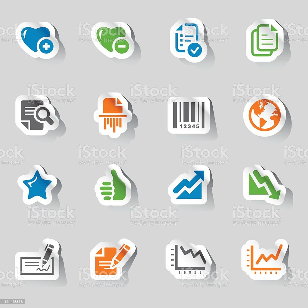 Collection of office and business icons royalty-free stock vector art