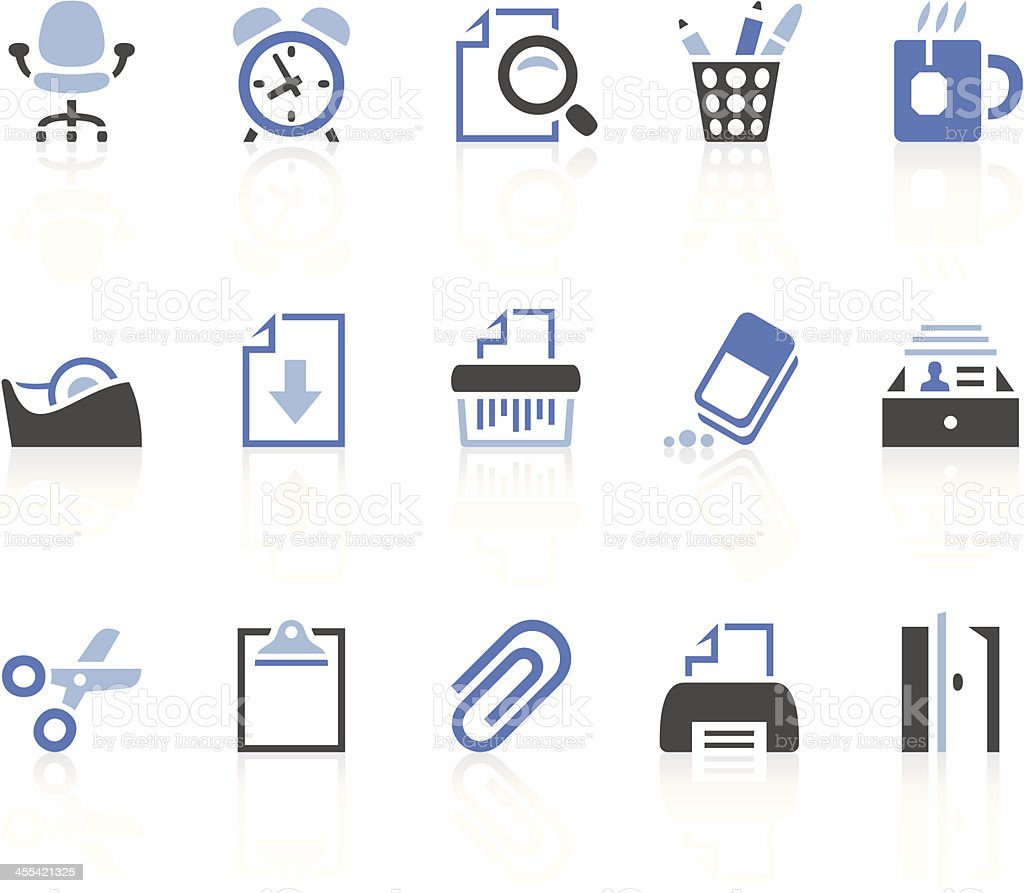Collection of office icons in blue, gray and black royalty-free stock vector art