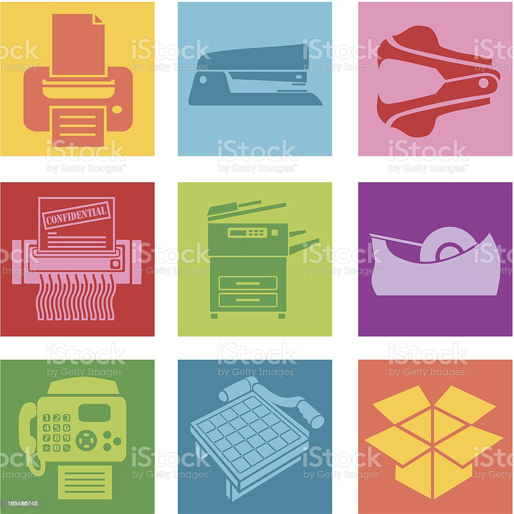 Collection of office supplies icons vector art illustration