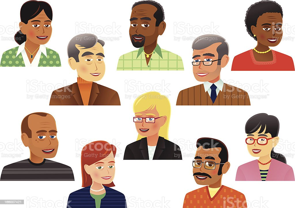 Collection of older people heads vector art illustration