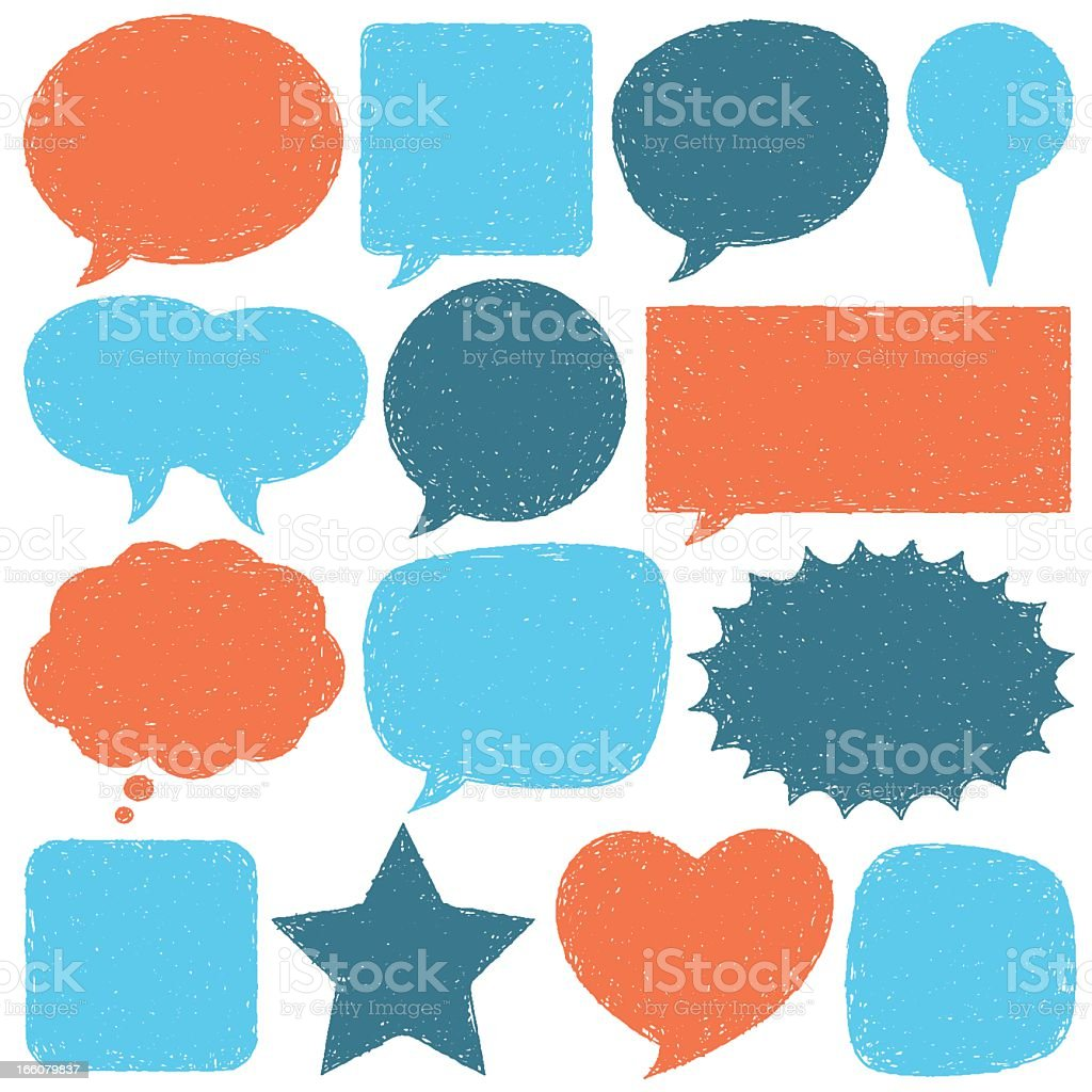 Collection of orange and blue speech bubbles royalty-free stock vector art