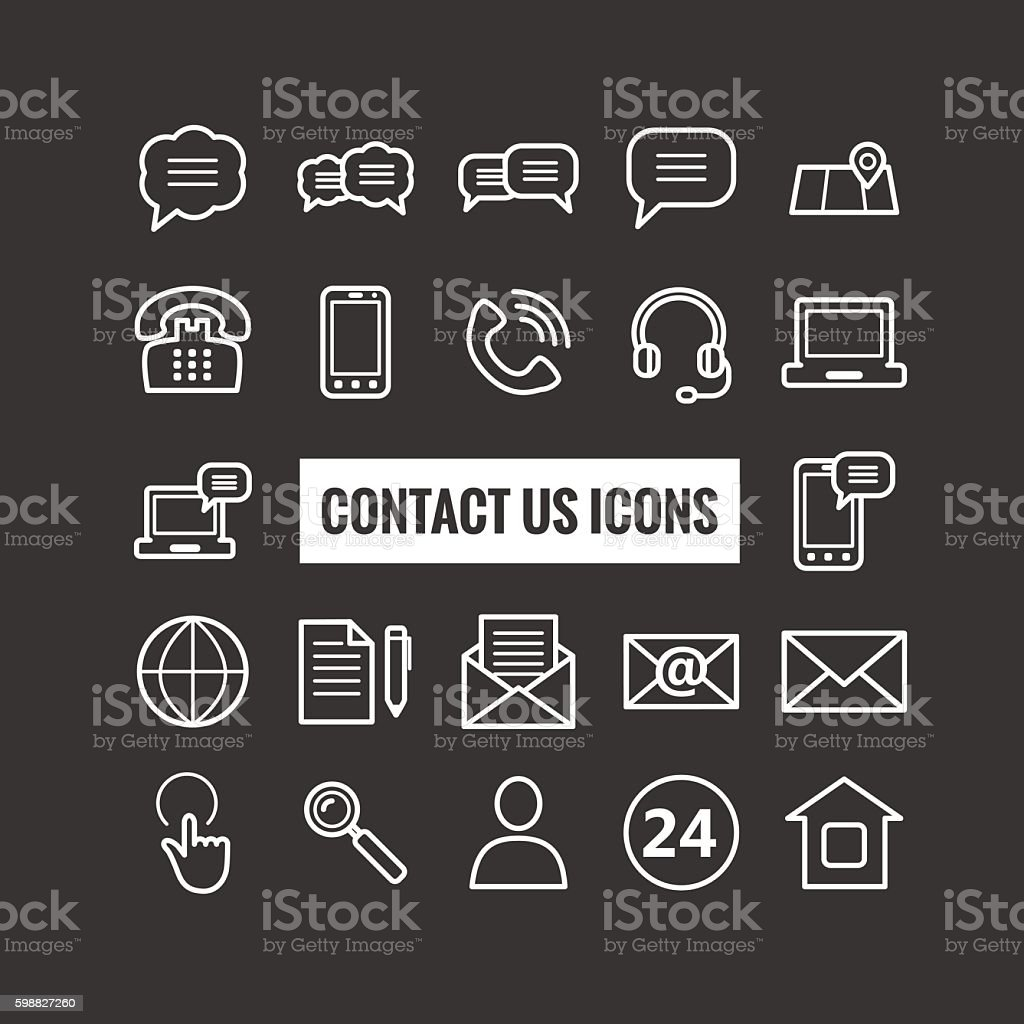 Collection of outline contact us icons vector art illustration
