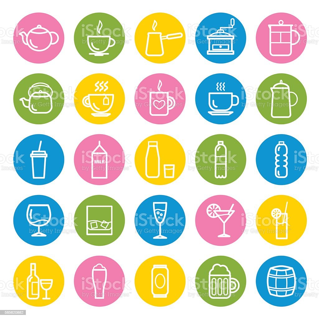 Collection of outline drinks icons for web and mobile apps vector art illustration