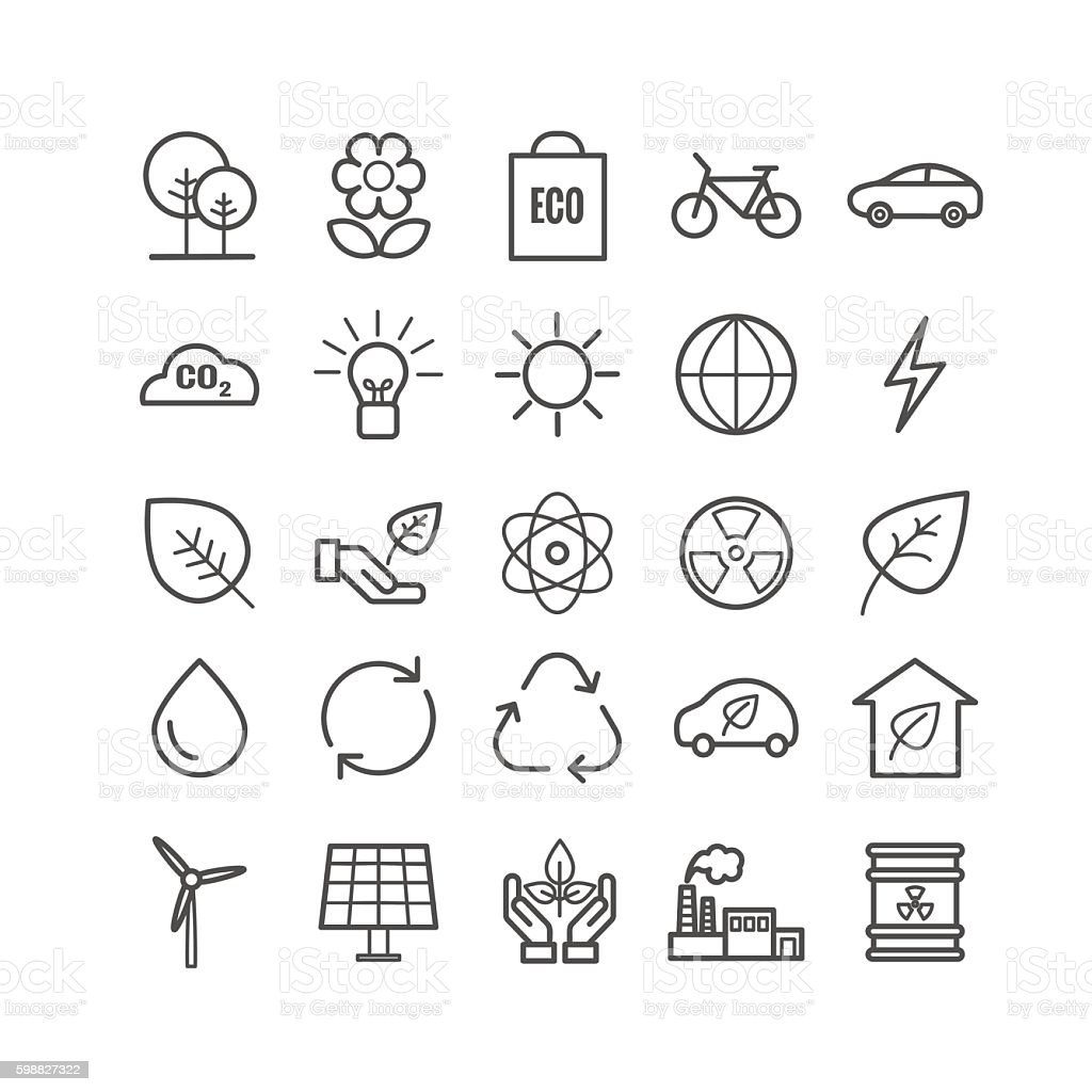 Collection of outline ecology icons vector art illustration