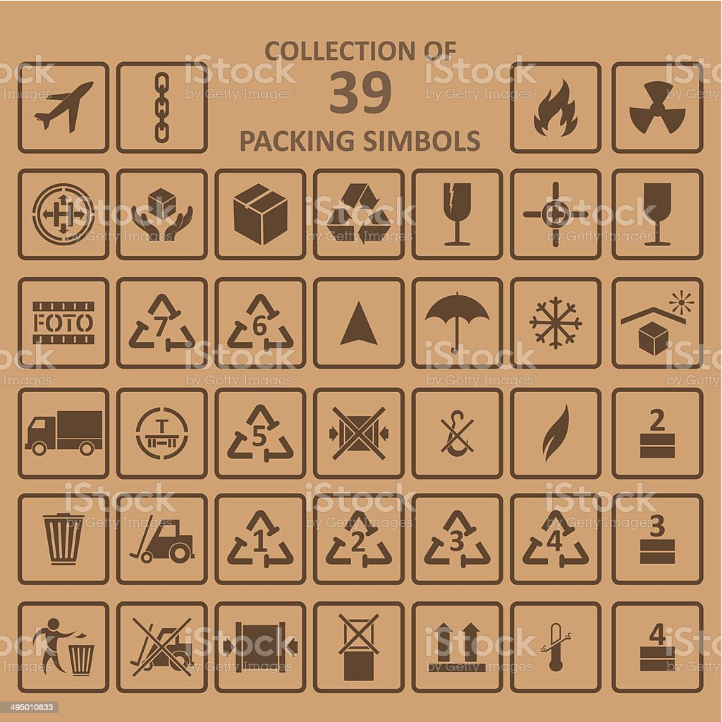 Collection of packing simbols on backgrownd vector art illustration