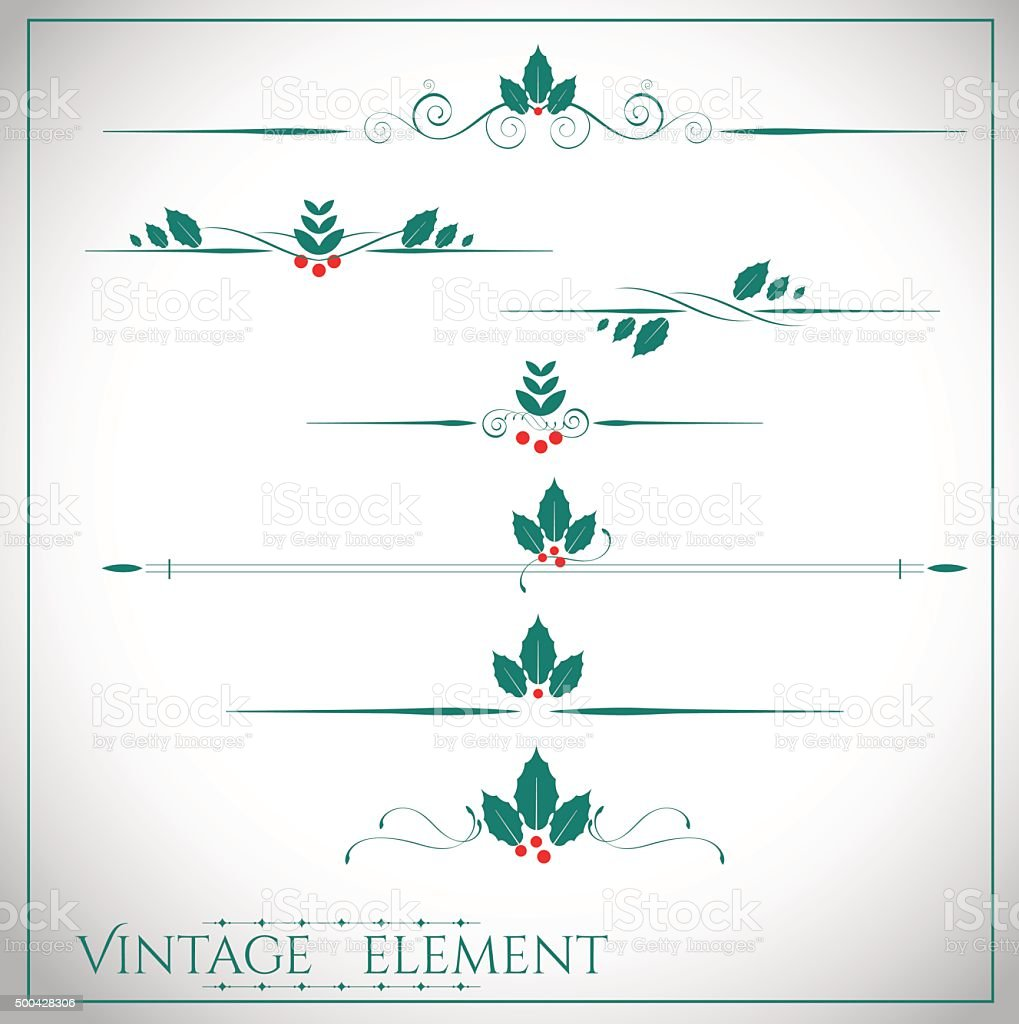 collection of page dividers and ornate christmas headpieces vector art illustration