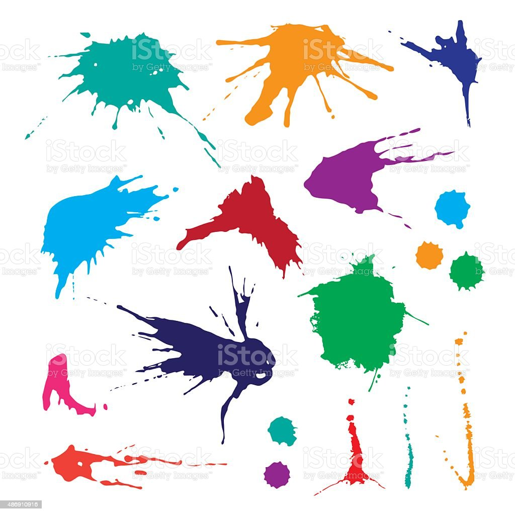 Collection of paint splash. vector art illustration
