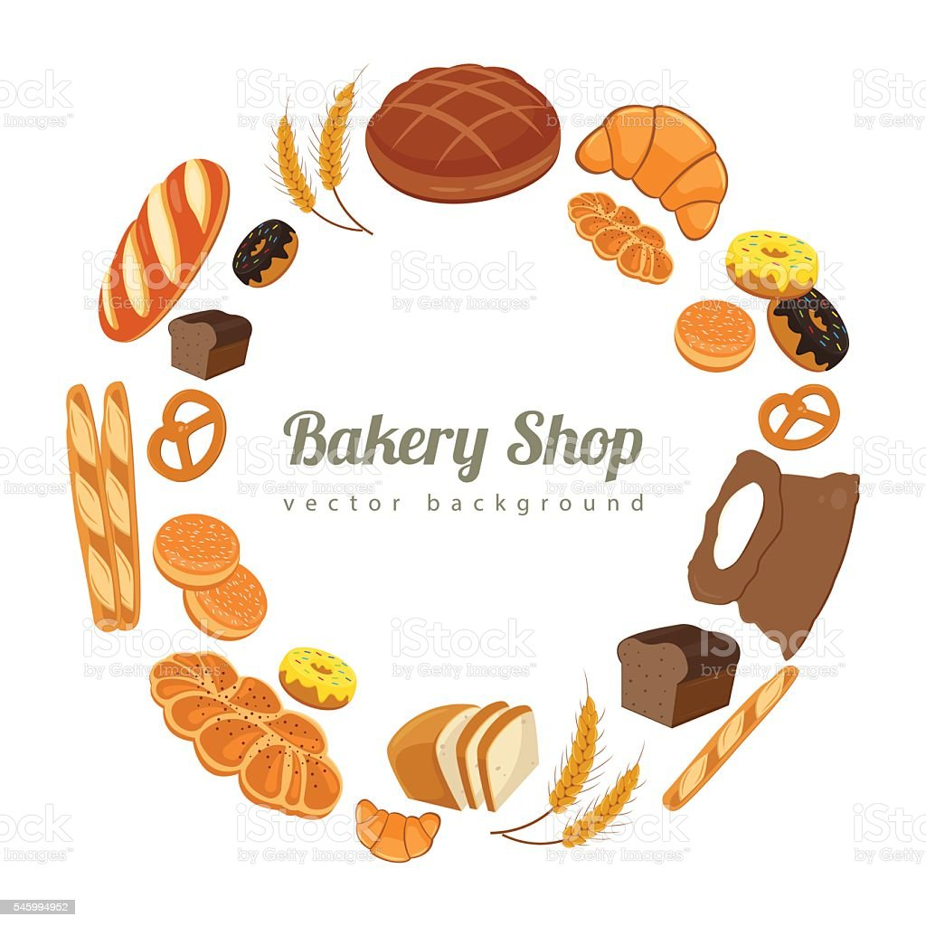 Collection of pastry or bakery items isolated on white. Vector vector art illustration