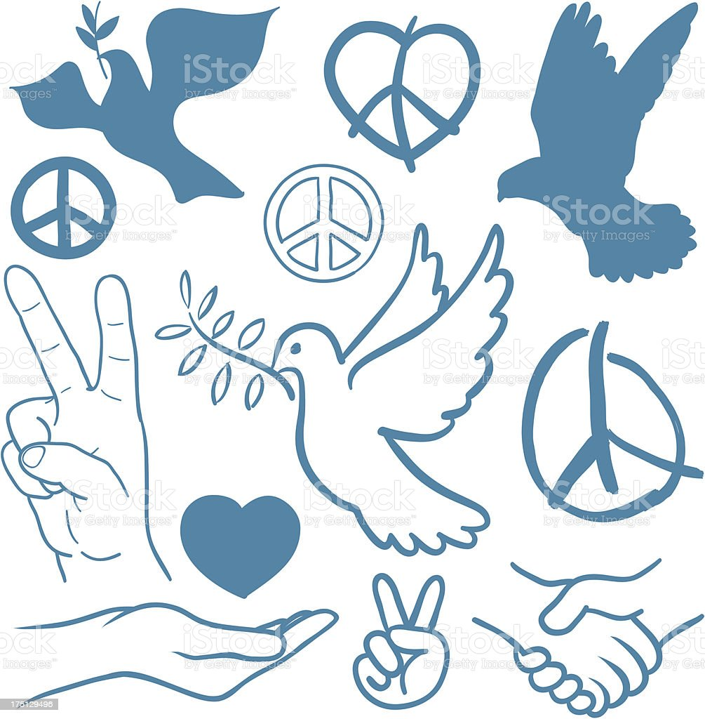 Collection of peace and love themed icons vector art illustration