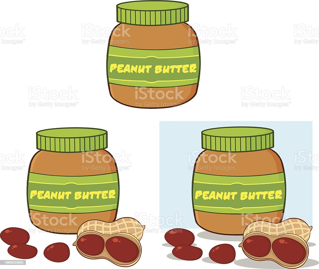 Collection of Peanut Butter In A Jar vector art illustration