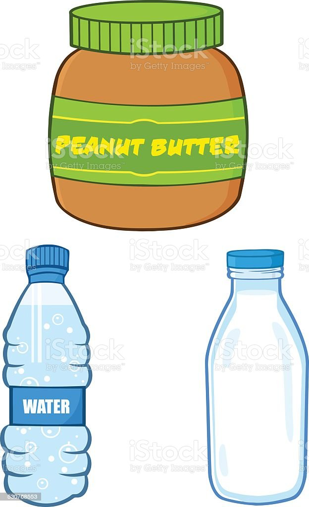 Collection of Peanut Butter Jar, Water and Milk Bottle vector art illustration