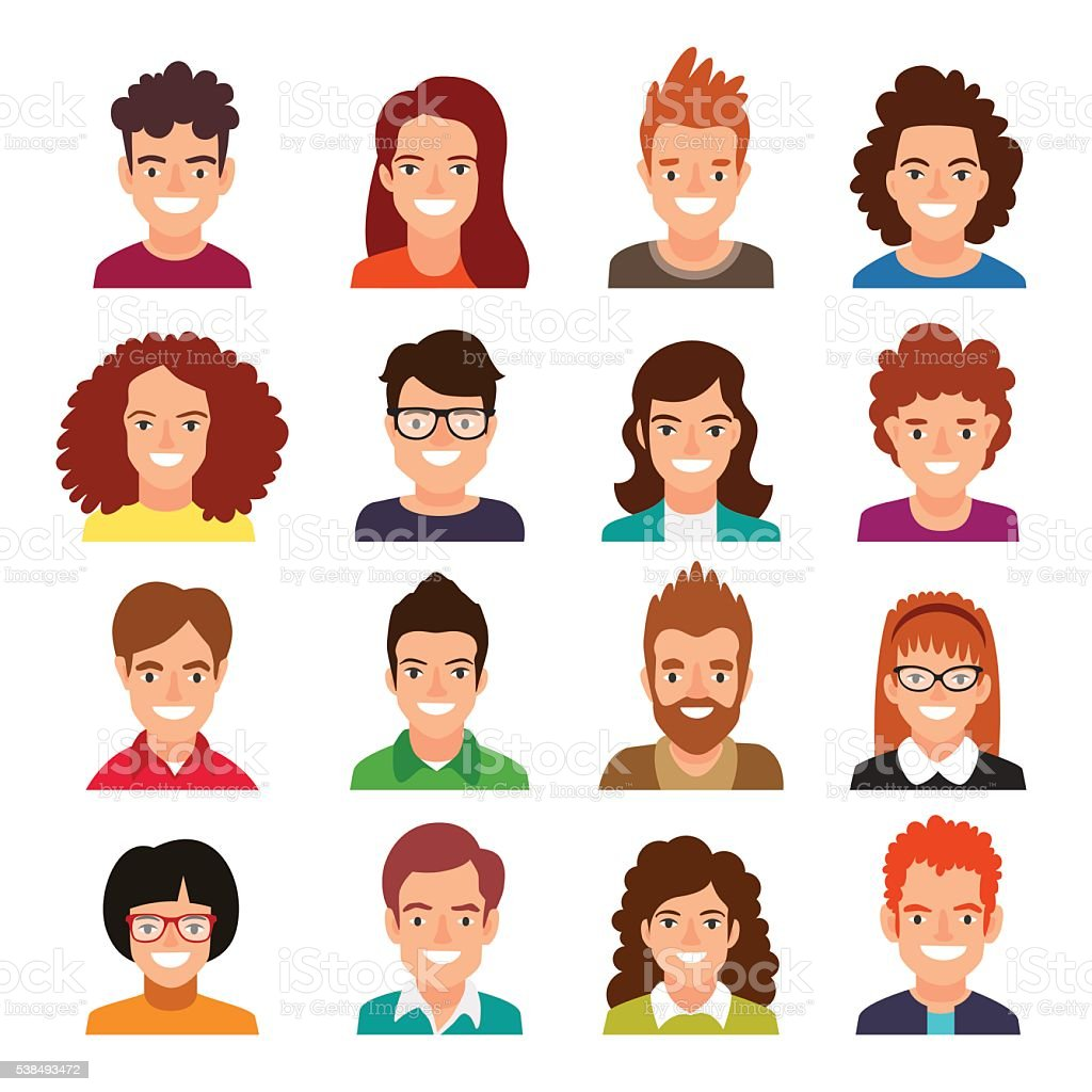 Collection of people avatars. vector art illustration