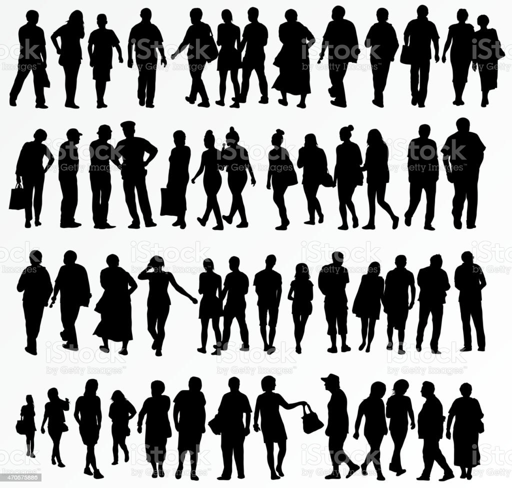 collection of people silhouettes vector art illustration