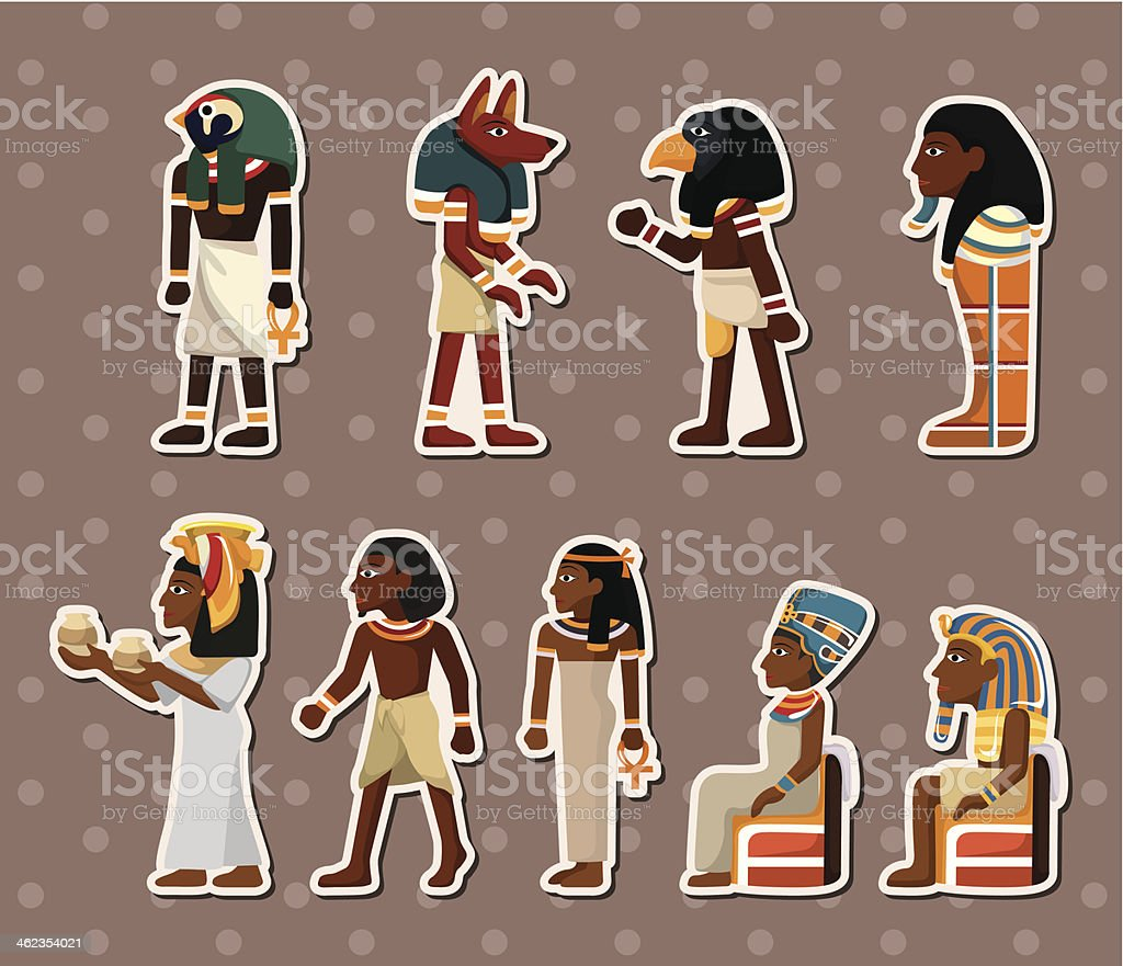 Collection of Pharaoh stickers on beige vector art illustration