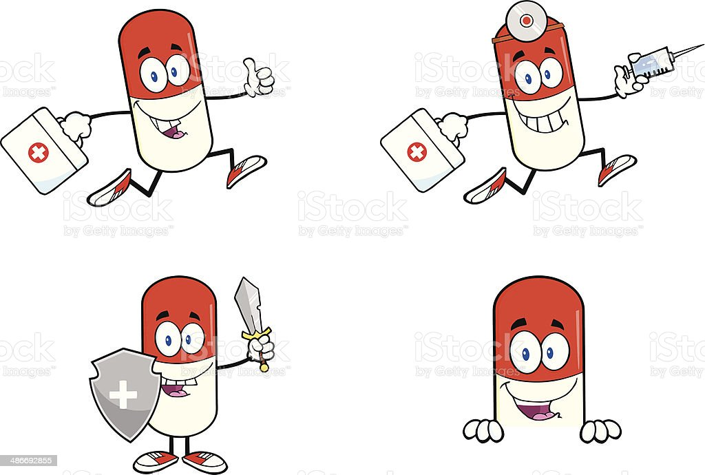 Collection of Pill Mascot - 3 vector art illustration