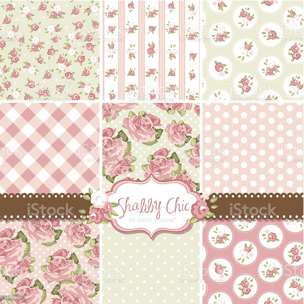 Collection of pink and cream shabby chic rose patterns vector art illustration
