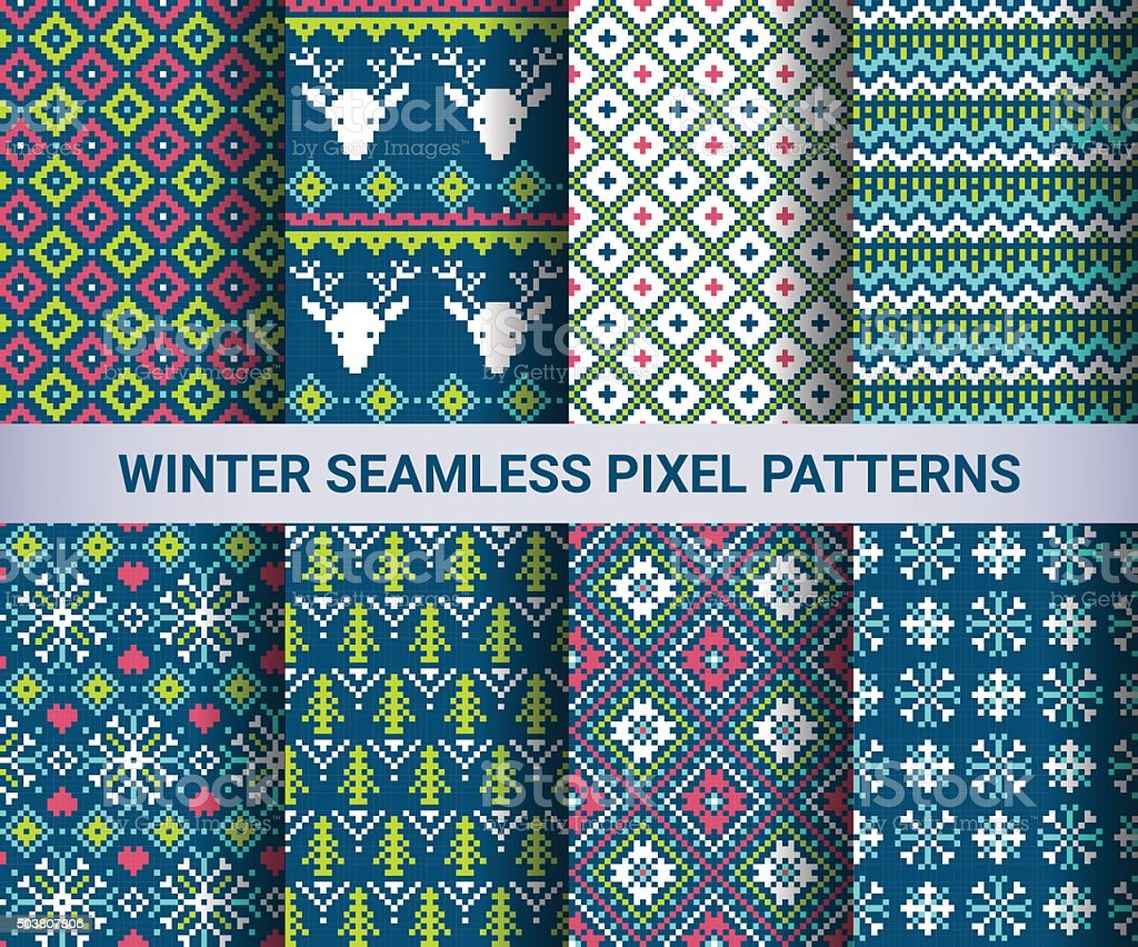 Collection of pixel bright seamless patterns vector art illustration