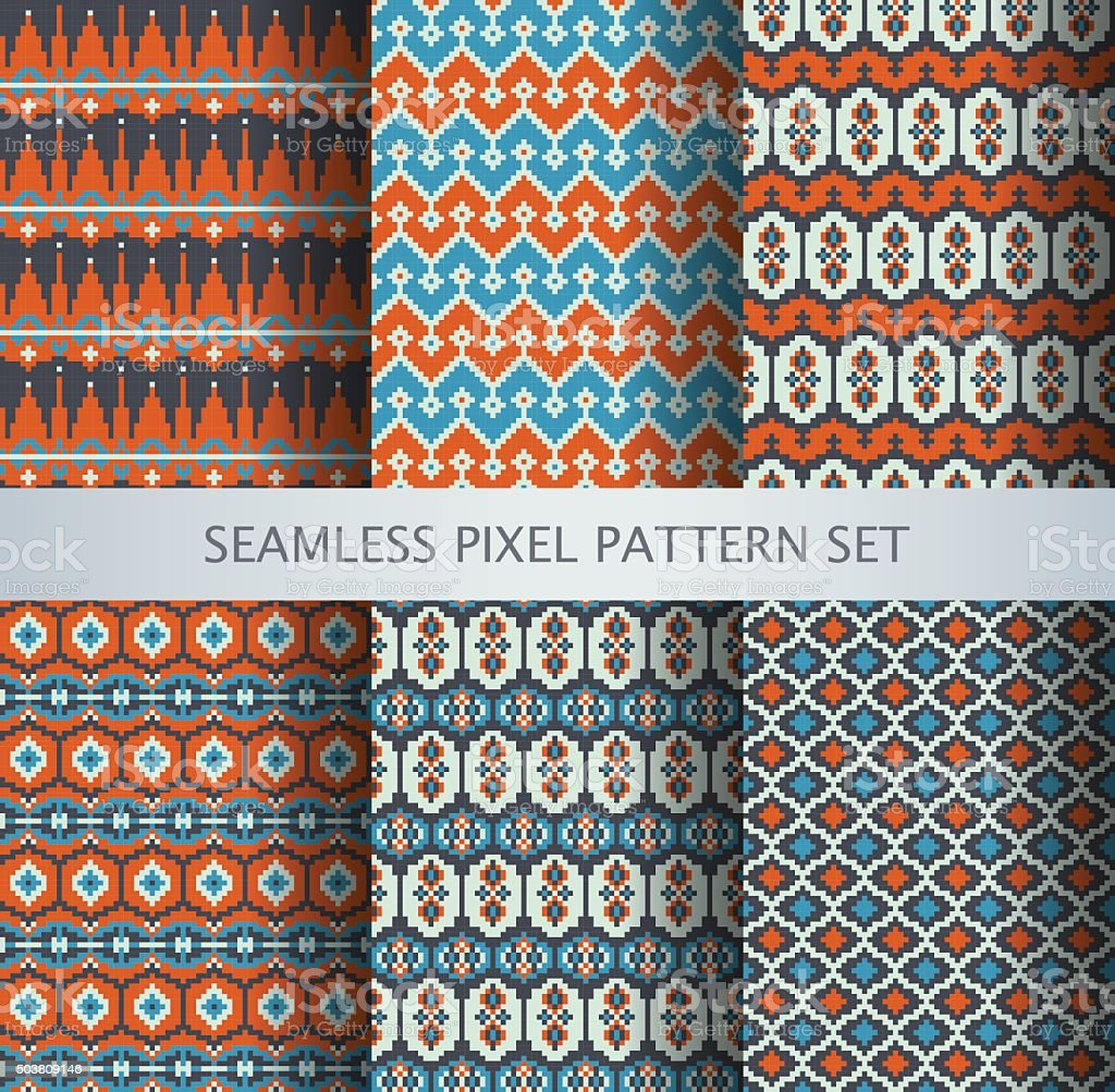 Collection of pixel colorful seamless greenland national patterns vector art illustration