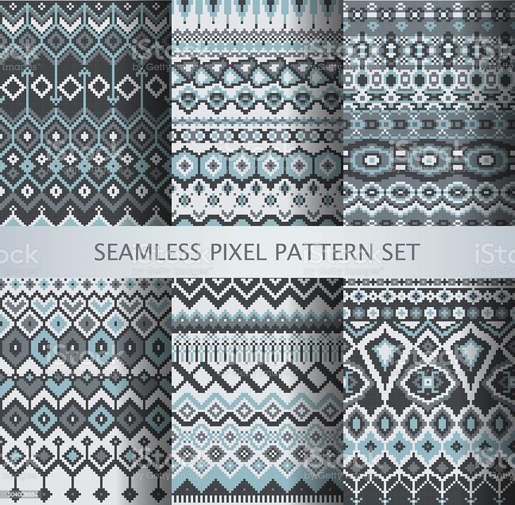 Collection of pixel seamless patterns with stylized Greenland national ornament vector art illustration