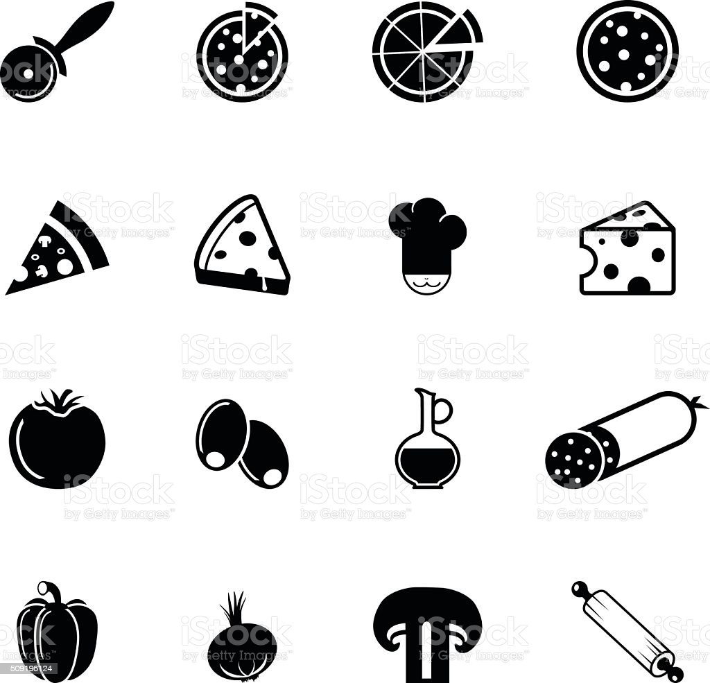 Collection of pizza related icons and ingredients vector art illustration