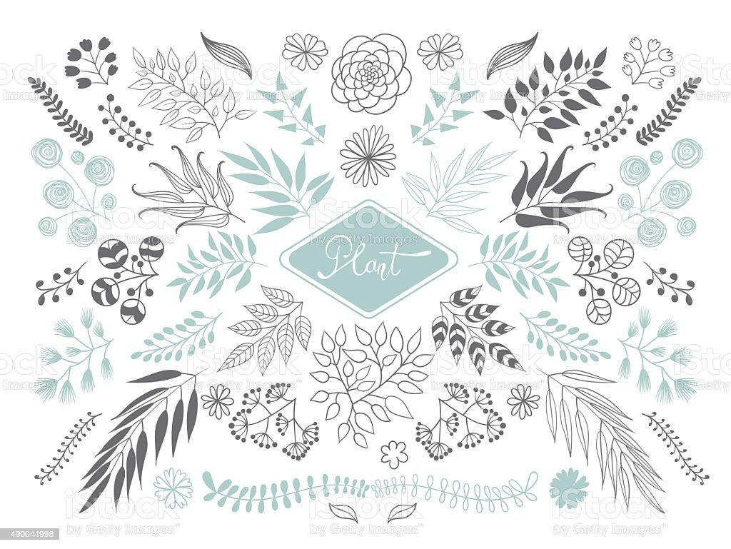 Collection of plants and branches. vector art illustration