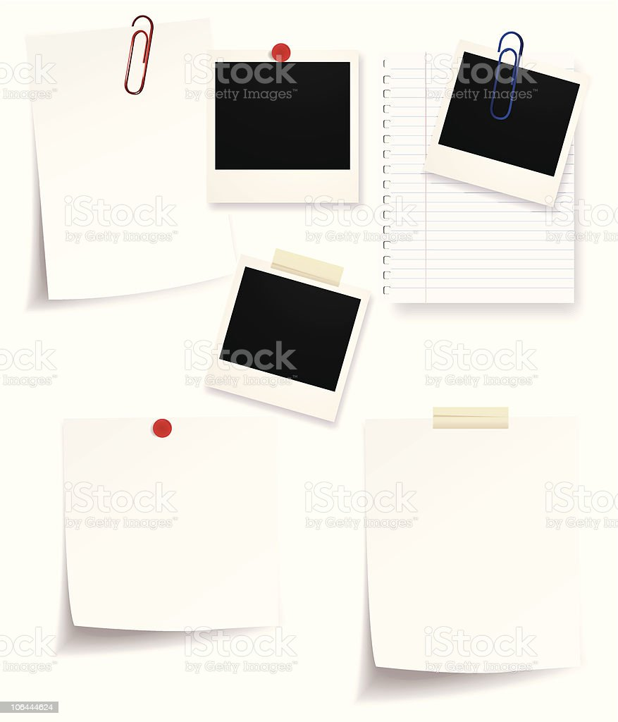 Collection of Polaroids and notes royalty-free stock vector art