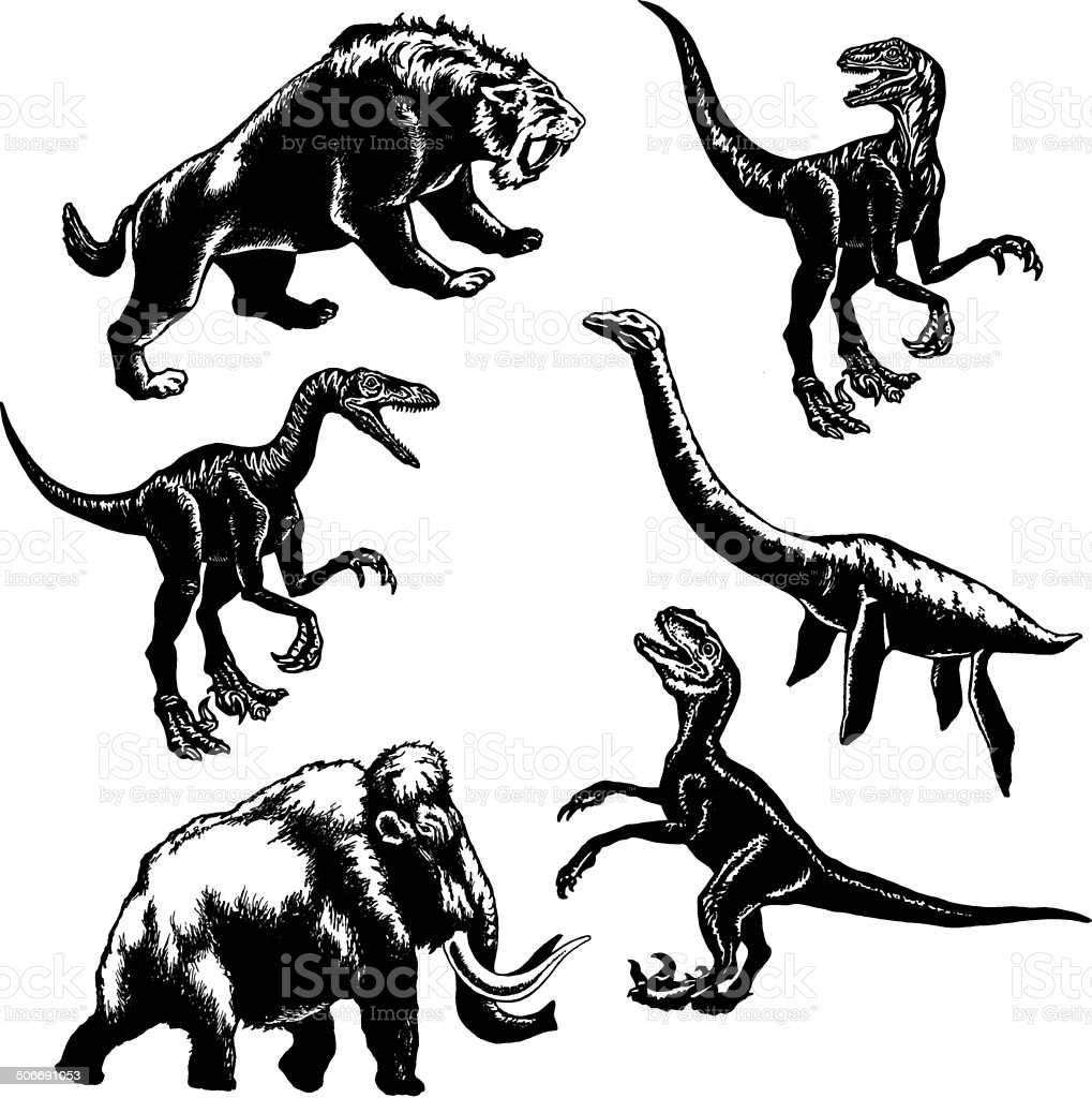 collection of prehistoric animals vector art illustration