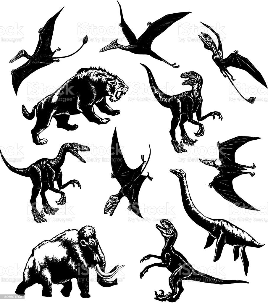 collection of prehistoric animals vector art illustration
