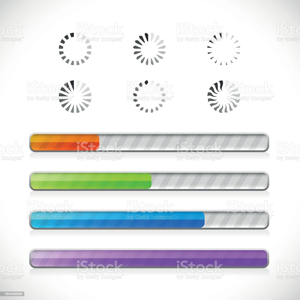 Collection of preloaders and progress loading bars royalty-free stock vector art