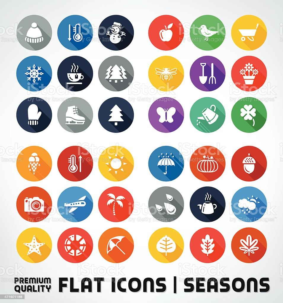 Collection Of Premium Quality Flat Icons With All Seasons vector art illustration