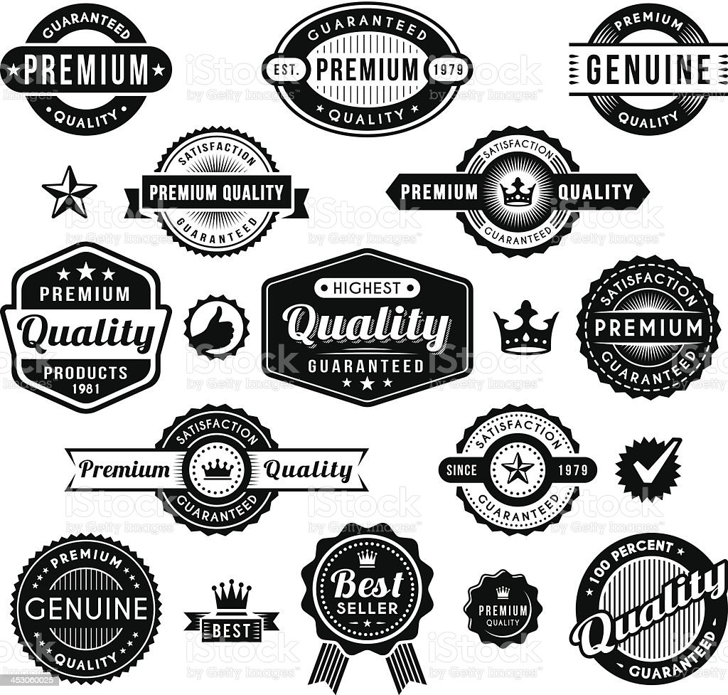 A collection of premium quality related labels royalty-free stock vector art