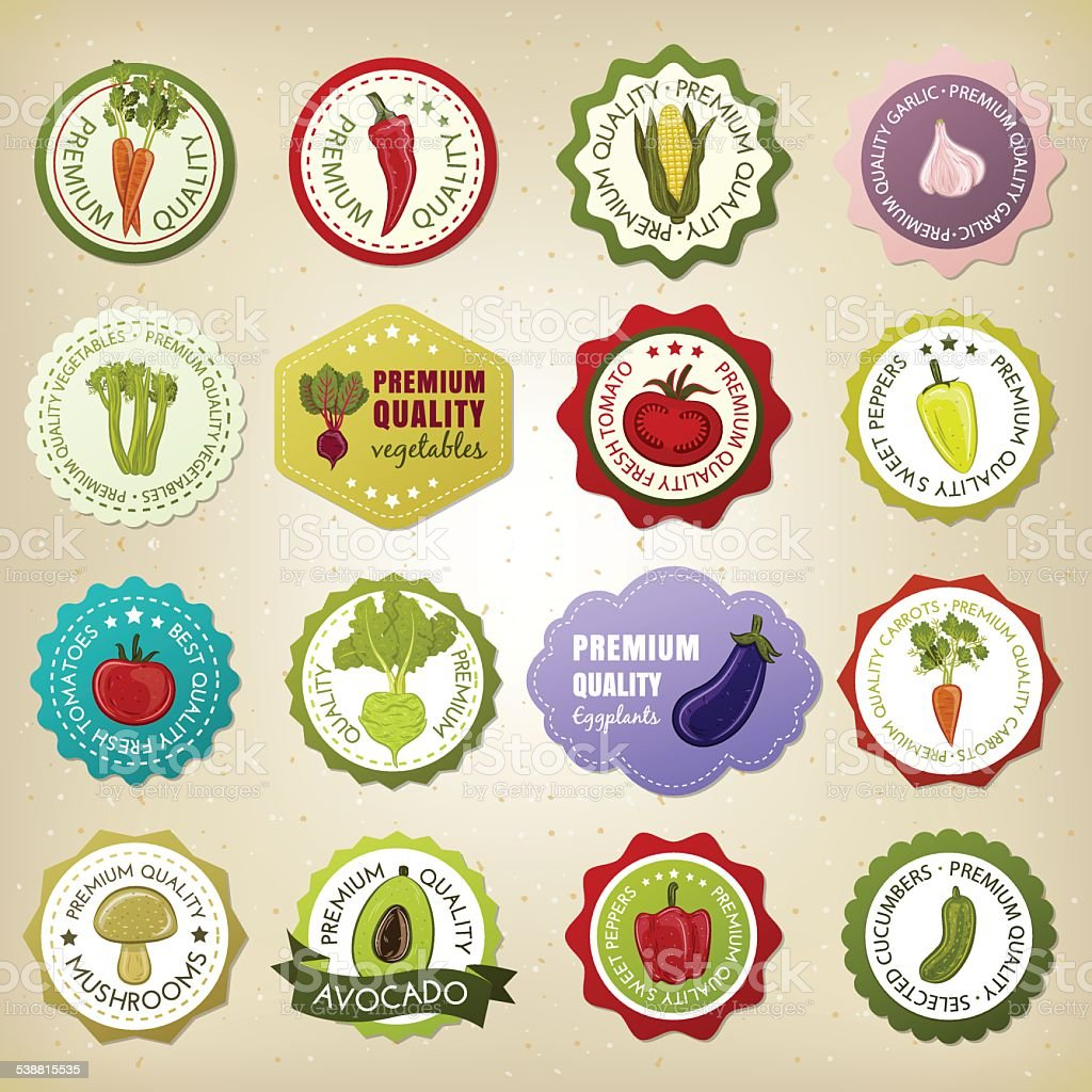 Collection of premium quality vegetable badges vector art illustration