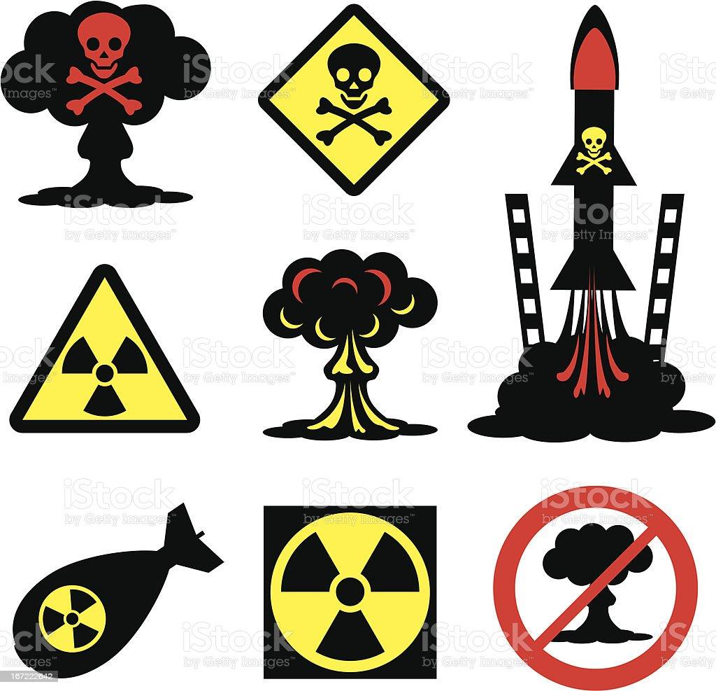 Collection of radiation hazard icons vector art illustration