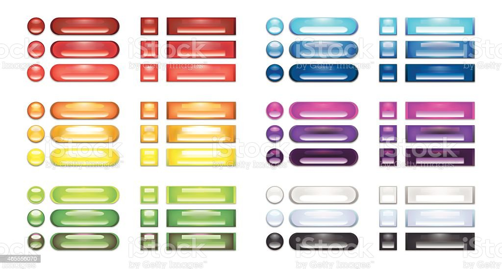 Collection of rainbow blank web buttons vector art illustration