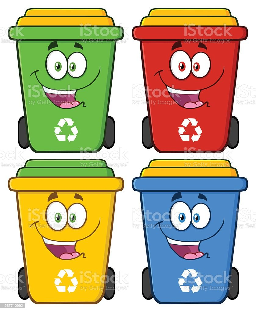 Collection of Recycle Bin - 2 vector art illustration