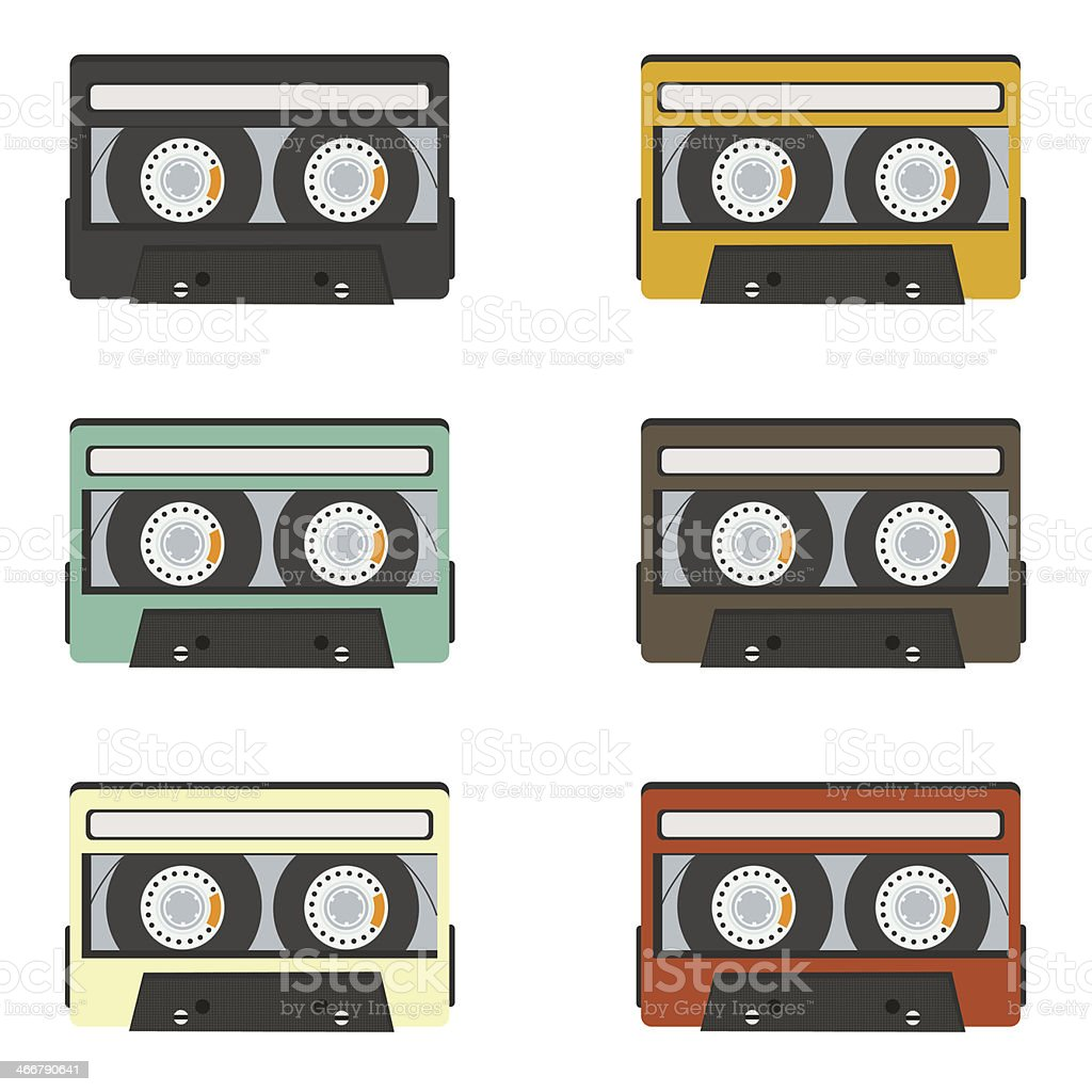 collection of retro audio tapes isolated on white background vector art illustration