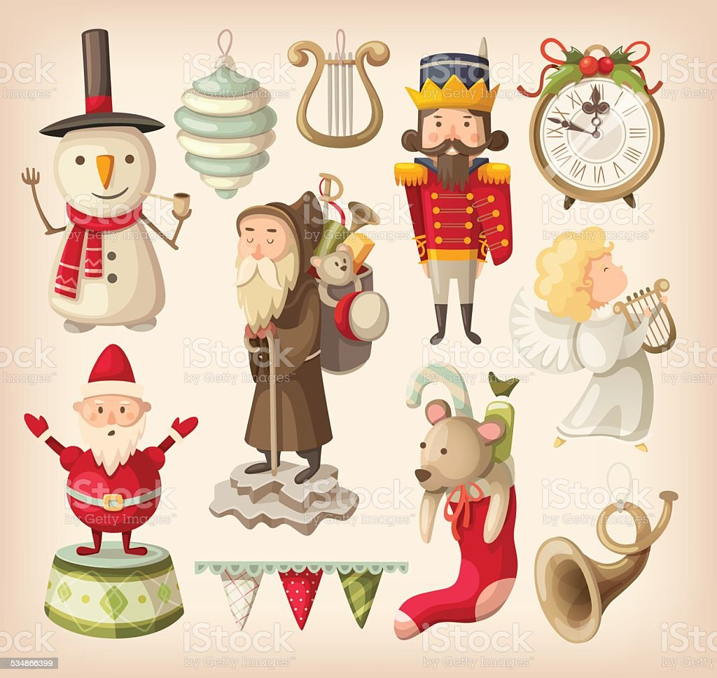 Collection of retro christmas toys vector art illustration
