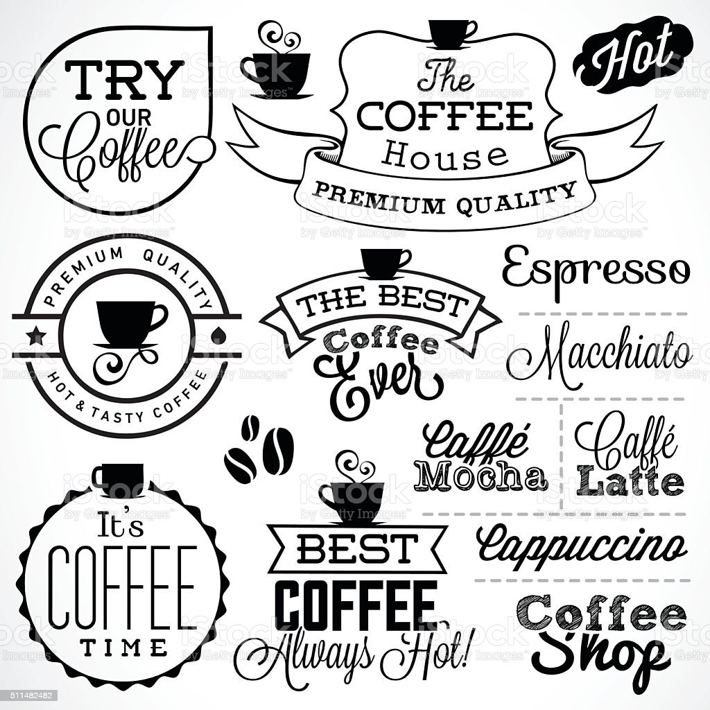 Collection Of Retro Coffee Labels and Badges vector art illustration