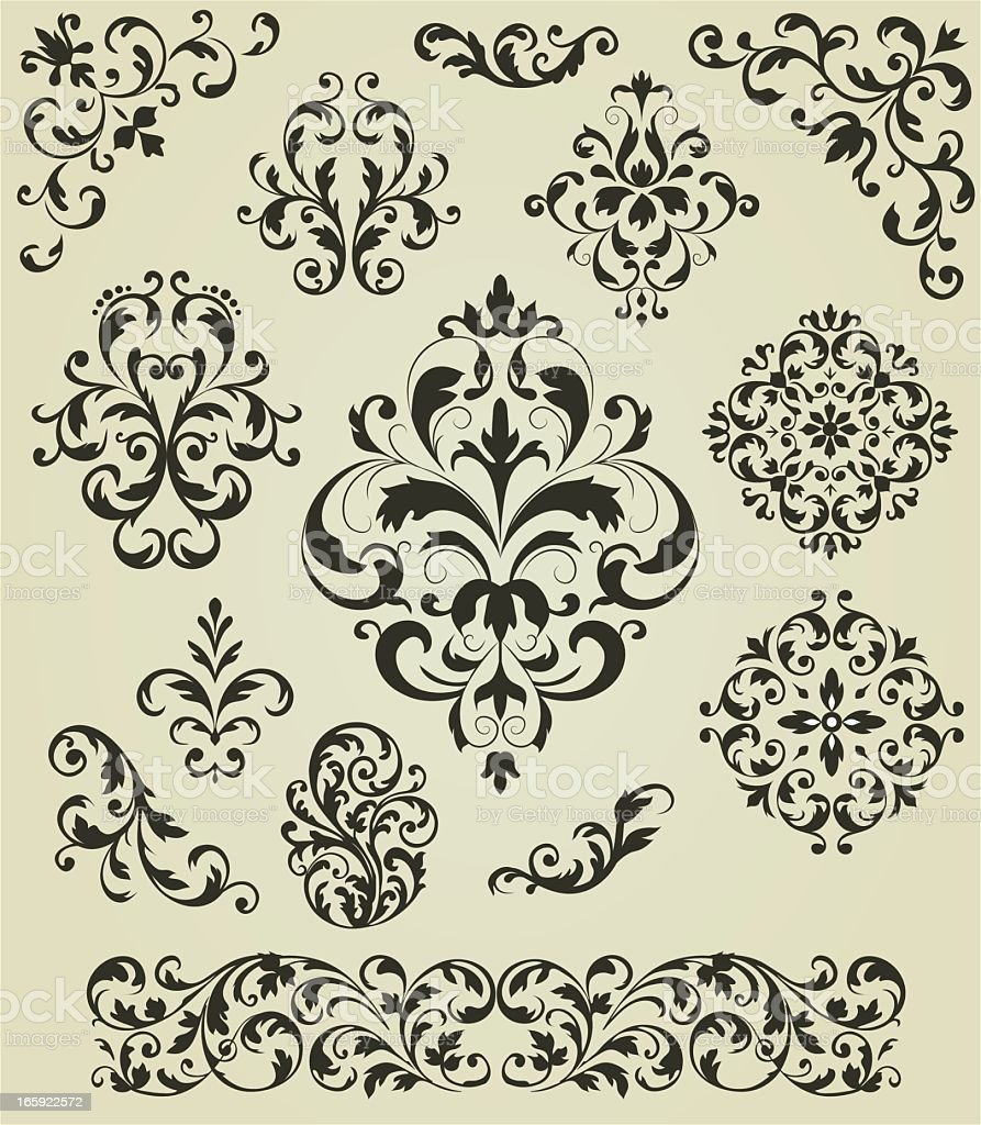 A collection of retro styled monochrome patterns royalty-free stock vector art