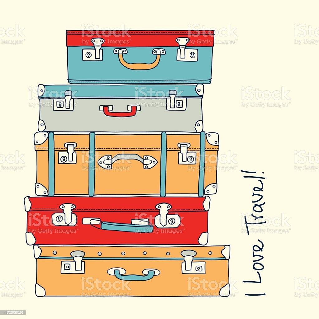 Conjunto de malas de amor retrô conceito de viagem vetor e ilustração royalty-free royalty-free