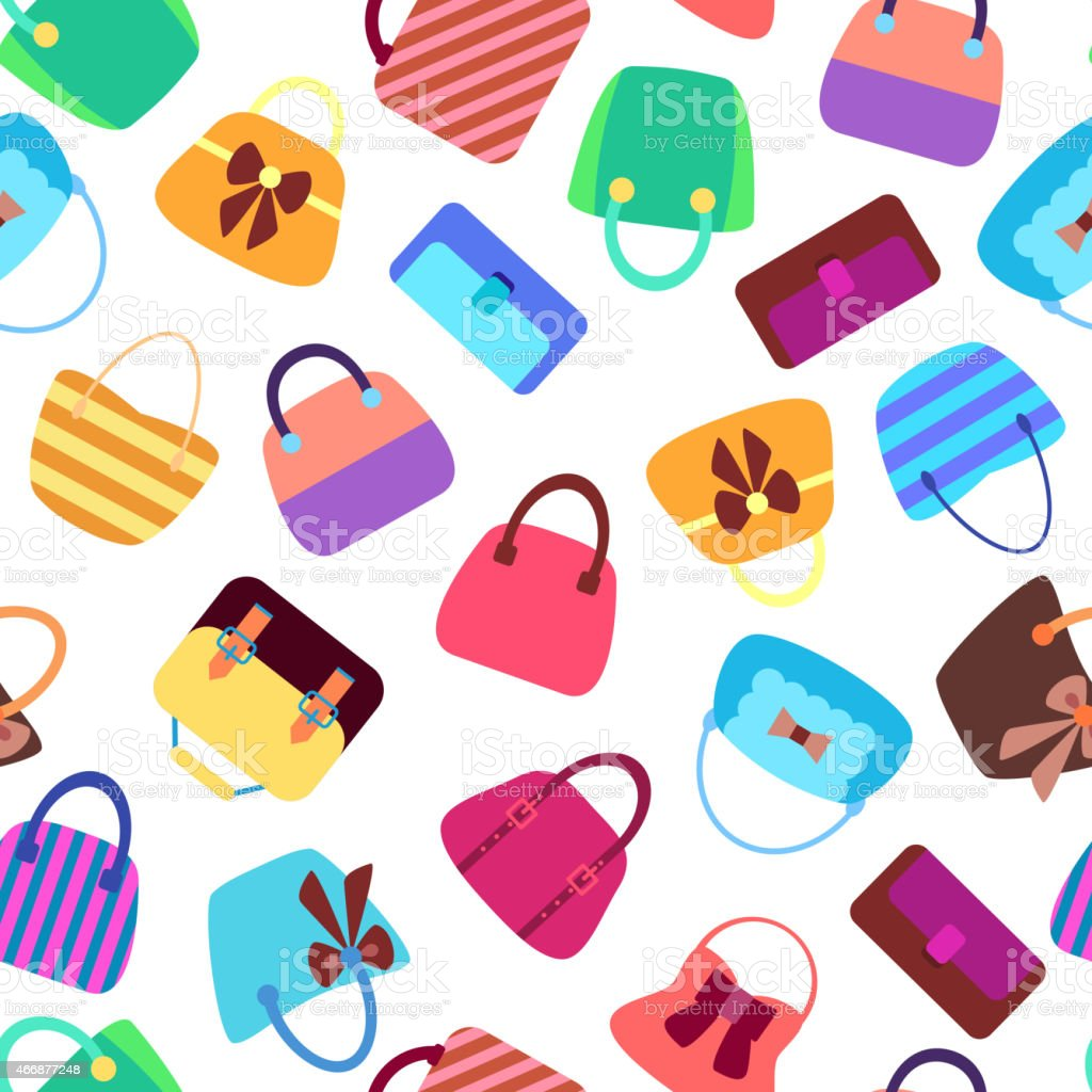 Collection of Retro Woman Bags Seamless Background vector art illustration