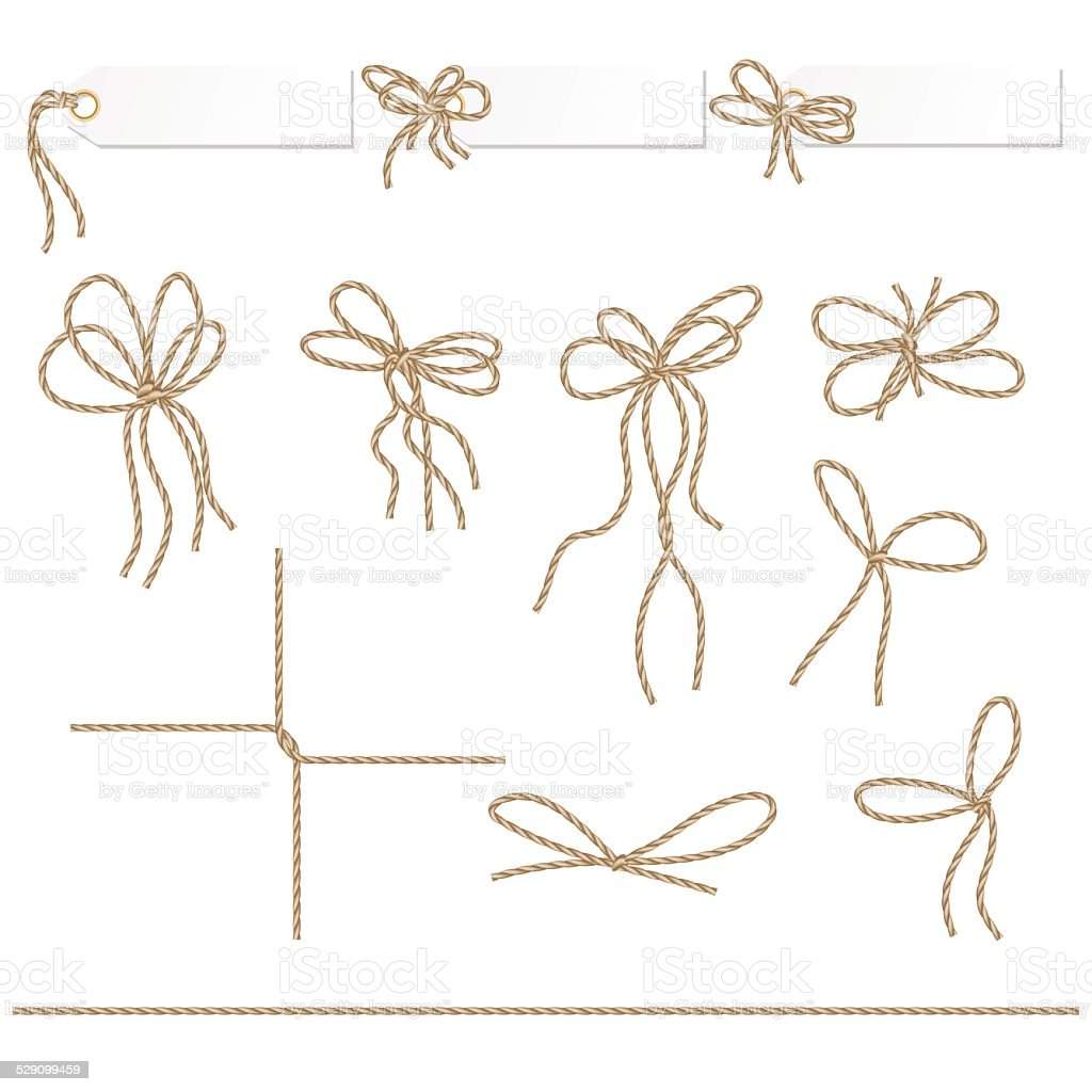 Collection of ribbons ahd bows in rope style vector art illustration